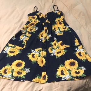 Dresses & Skirts - Lovely Navy Blue Sunflower Sundress!